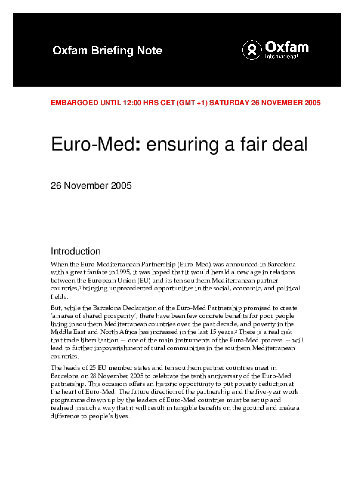 Euromed: Ensuring a Fair Deal