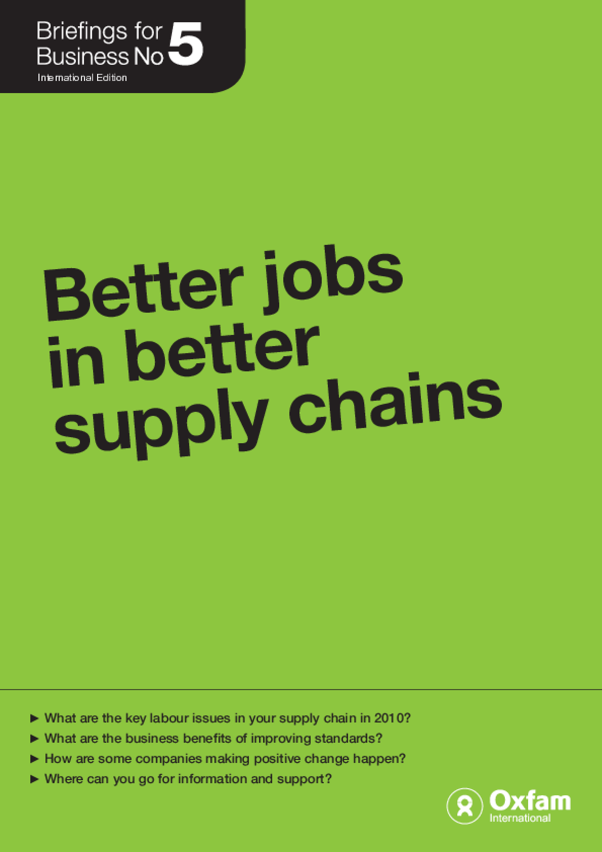Better Jobs in Better Supply Chains