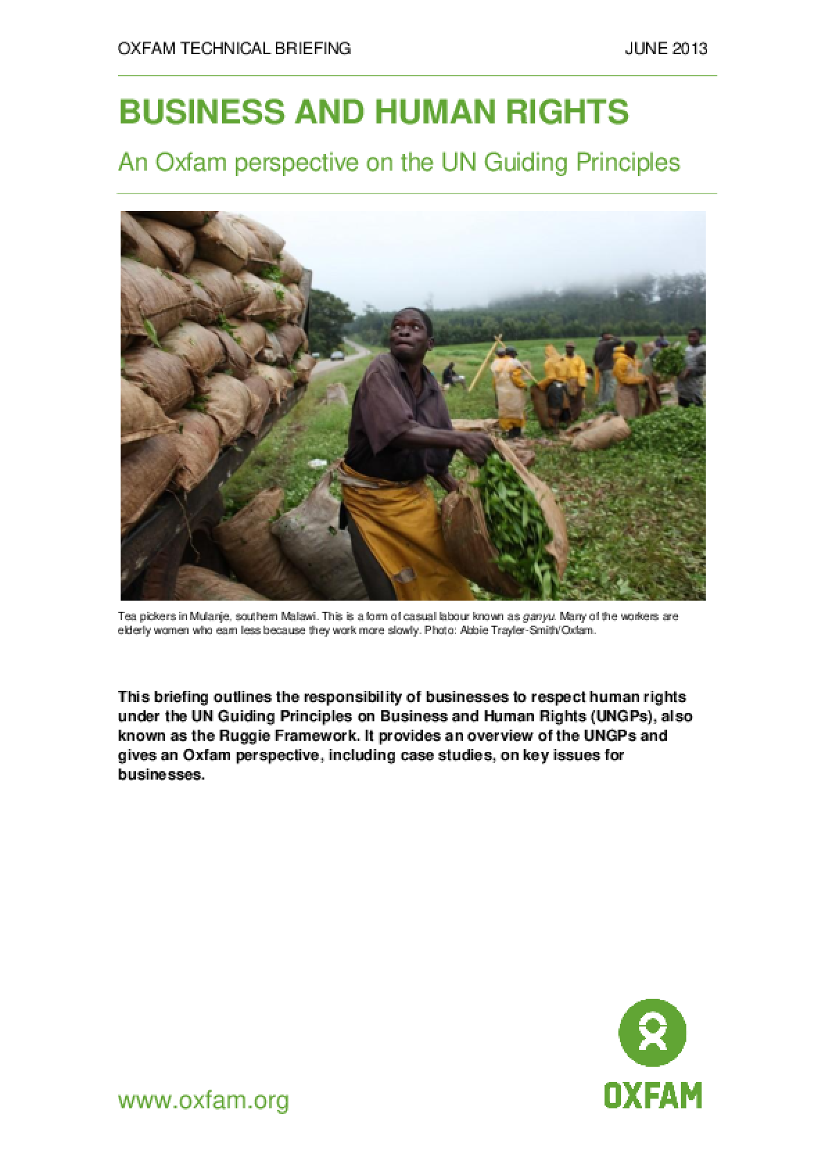 Business and Human Rights: An Oxfam perspective on the UN Guiding Principles