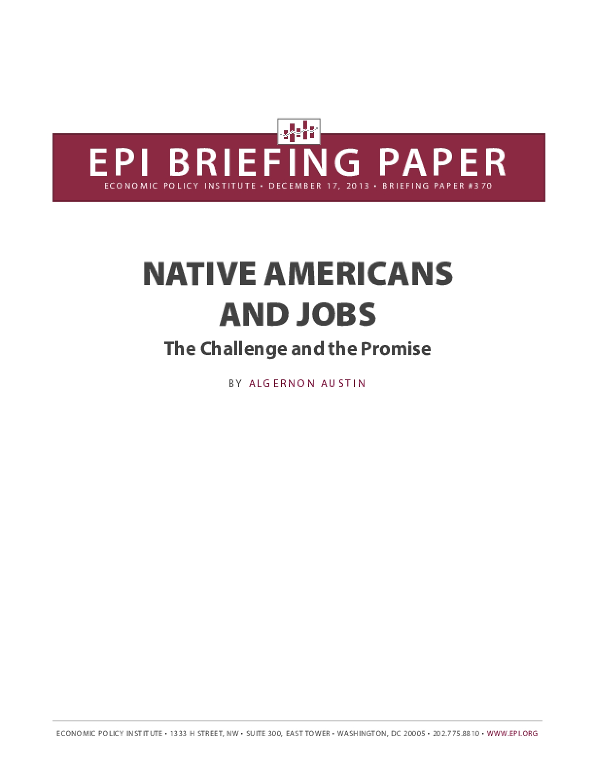NATIVE AMERICANS AND JOBS - The Challenge and the Promise