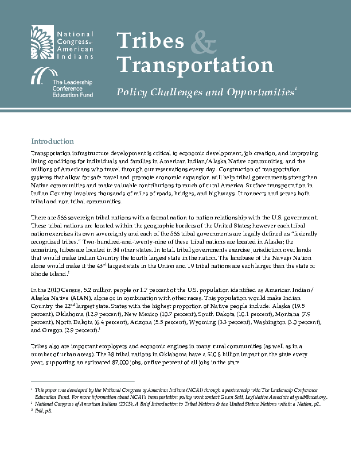 Tribes Transportation - Policy Challenges and Opportunities