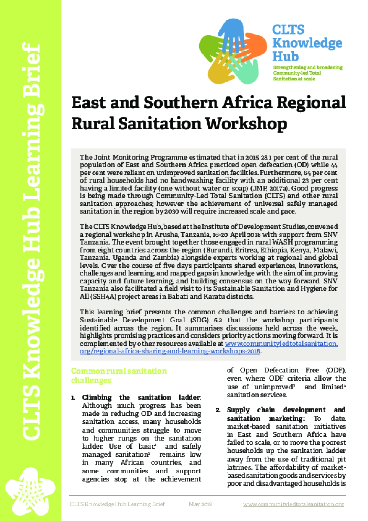 East and Southern Africa Regional Rural Sanitation Workshop