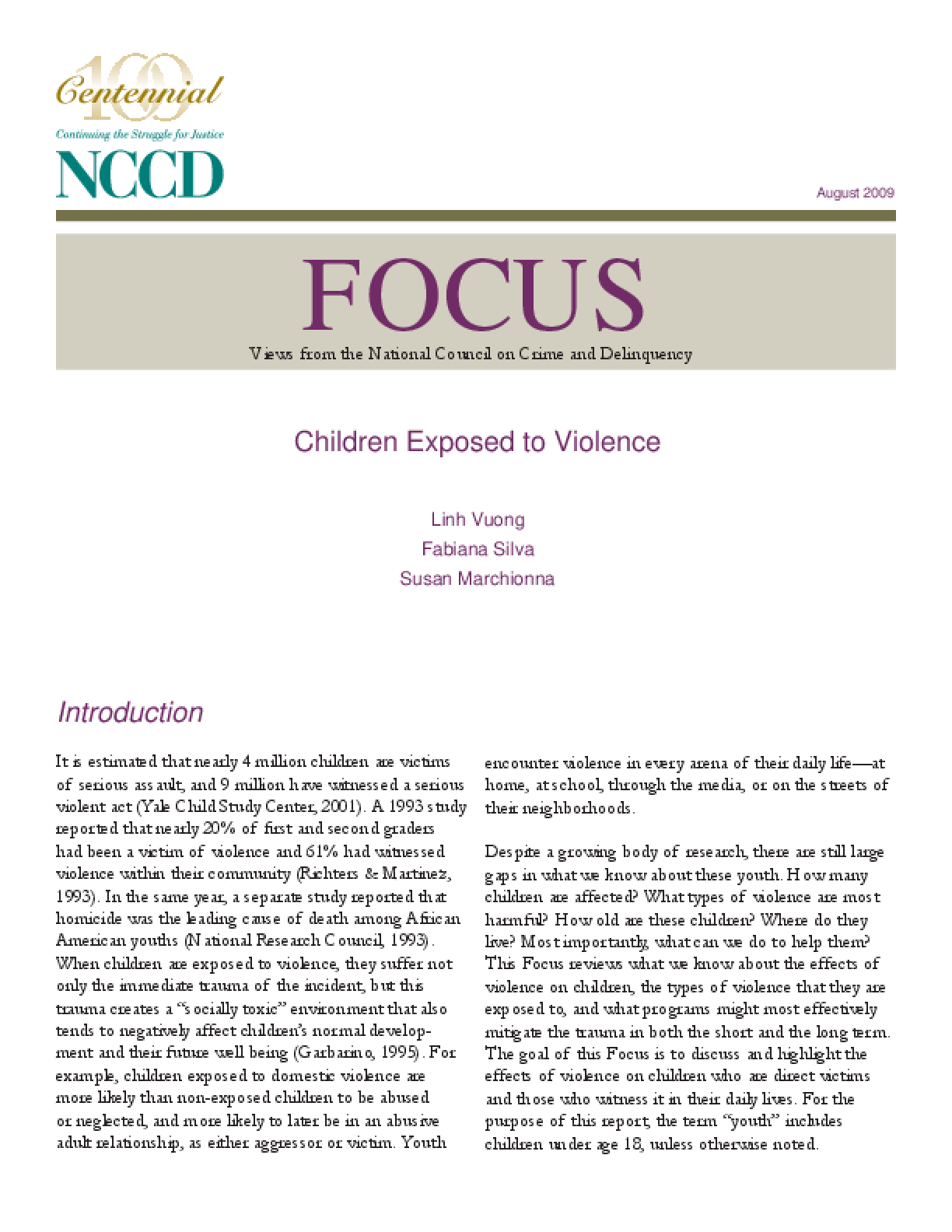 Children Exposed to Violence (Focus)
