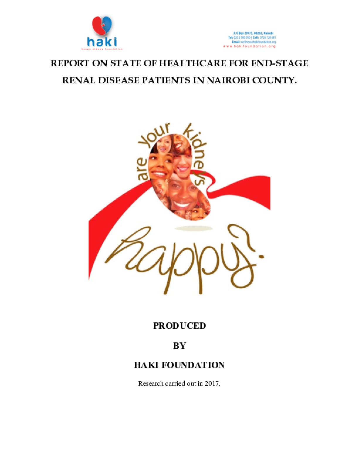 Report on State of Healthcare for End-Stage Renal Disease Patients in Nairobi County