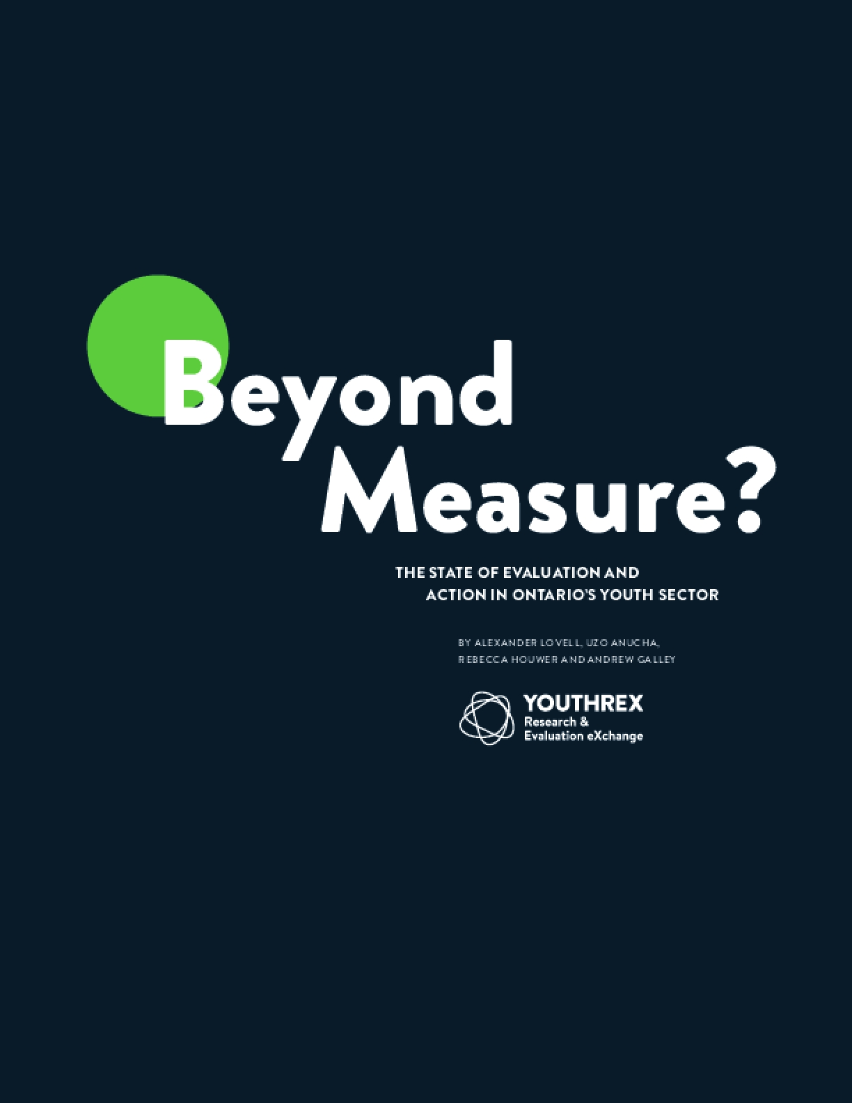 Beyond Measure? The State of Evaluation and Action in Ontario's Youth Sector
