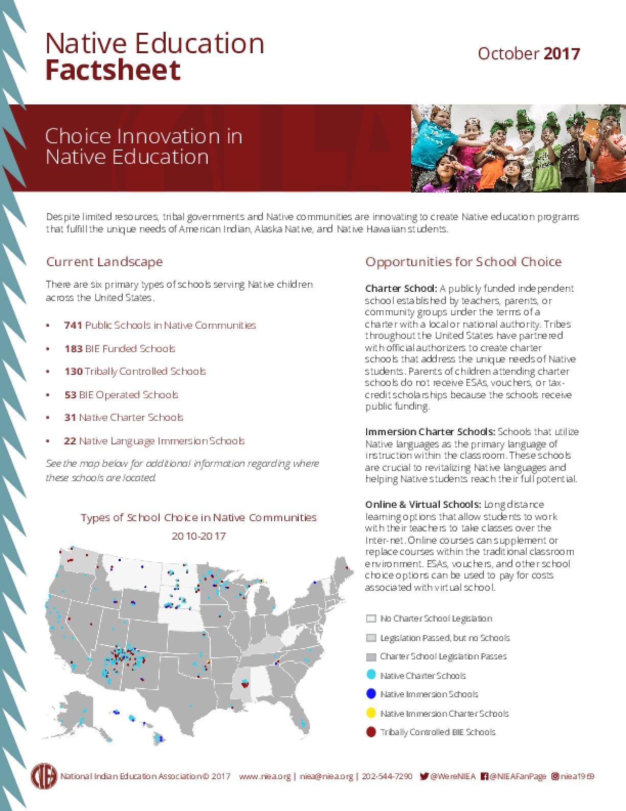 Native Education Factsheet: Choice Innovation in Native Education