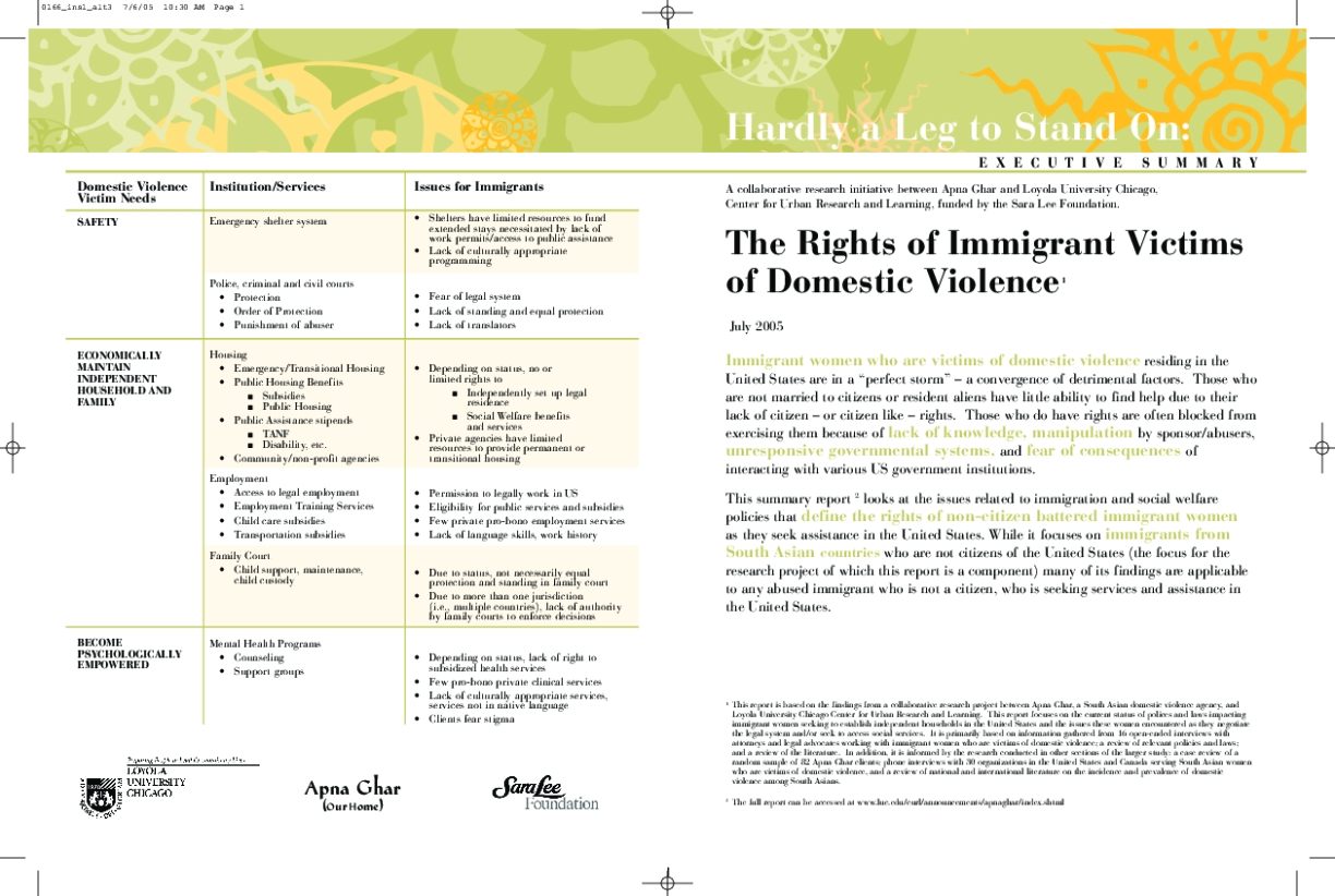 Hardly a Leg to Stand On: The Rights of Immigrant Victims of Domestic Violence - Executive Summary