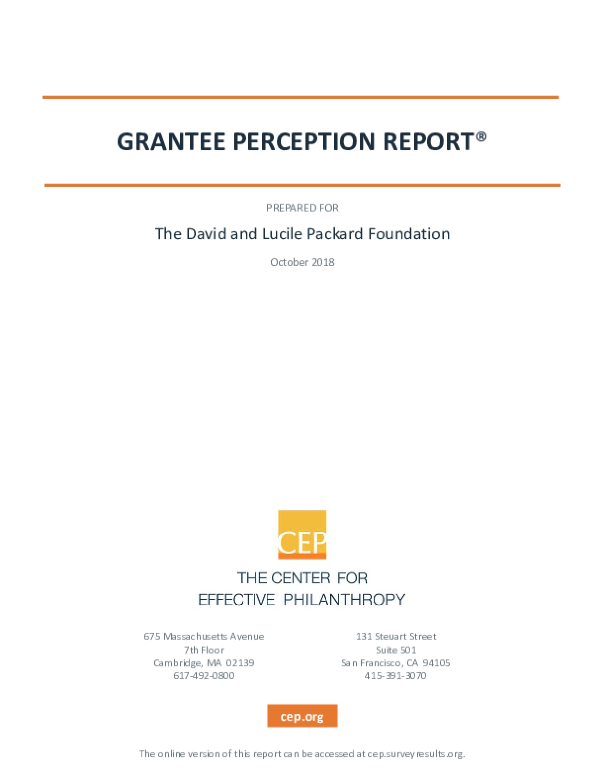 Grantee Perception Report: Prepared for The David and Lucile Packard Foundation