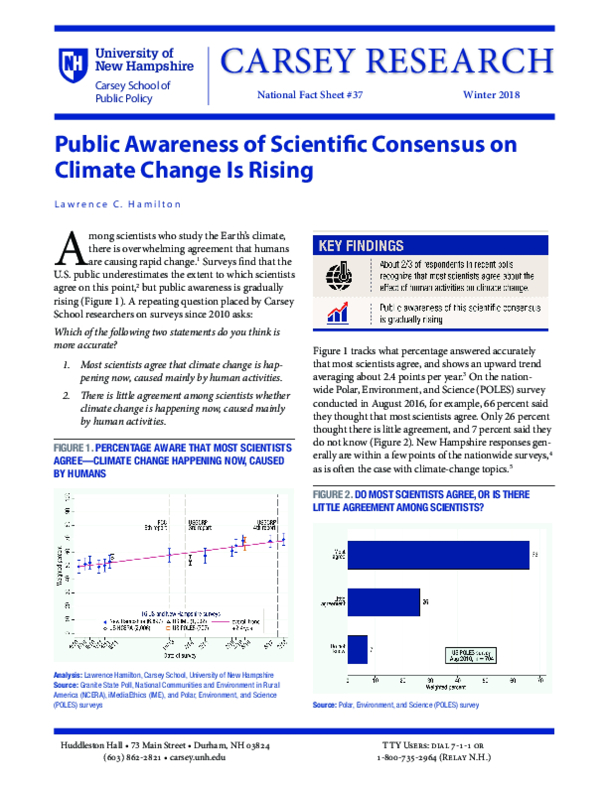 Public Awareness of Scientific Consensus on Climate Change Is Rising