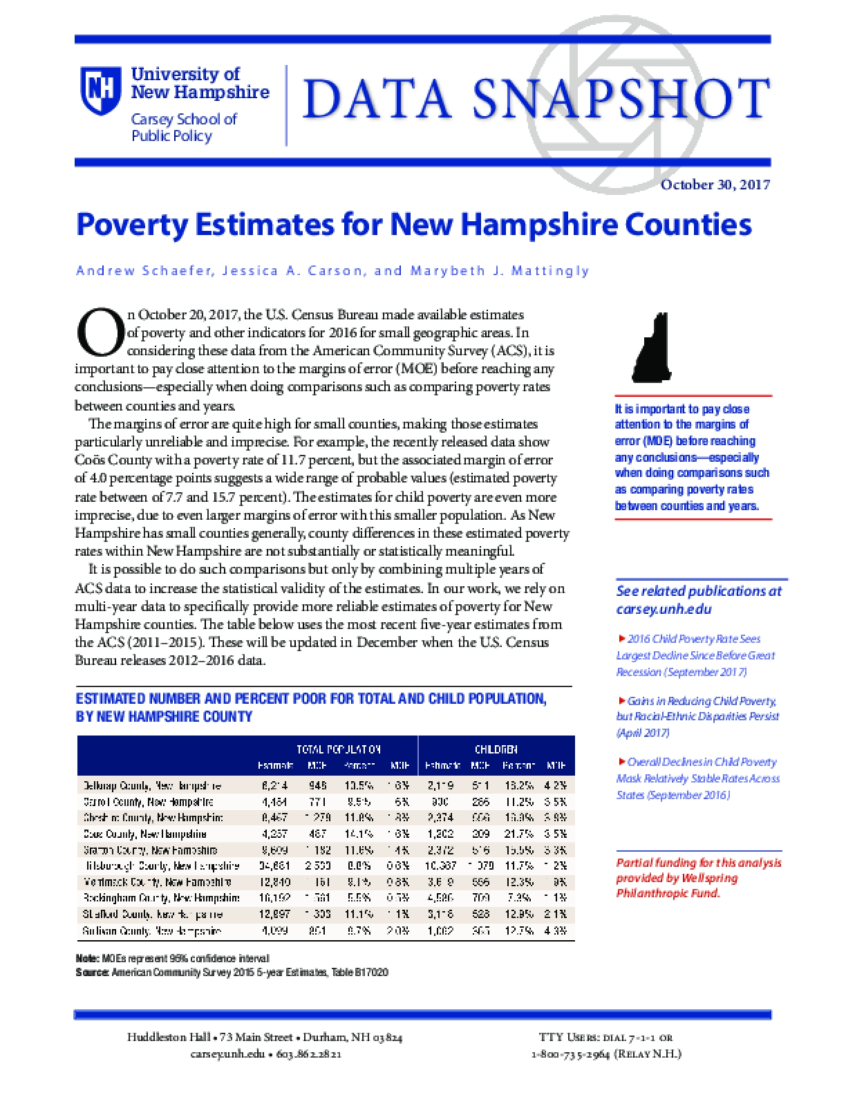 Data Snapshot: Poverty Estimates for New Hampshire Counties