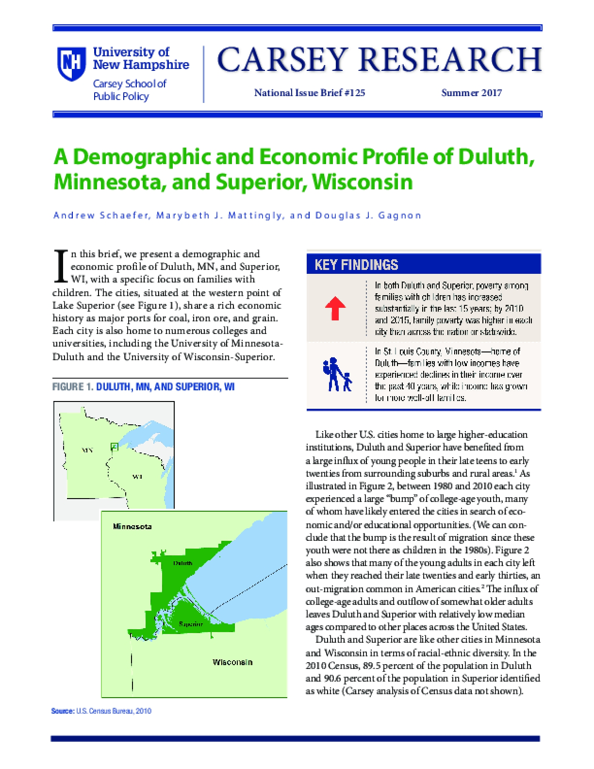 A Demographic and Economic Profile of Duluth, Minnesota, and Superior, Wisconsin