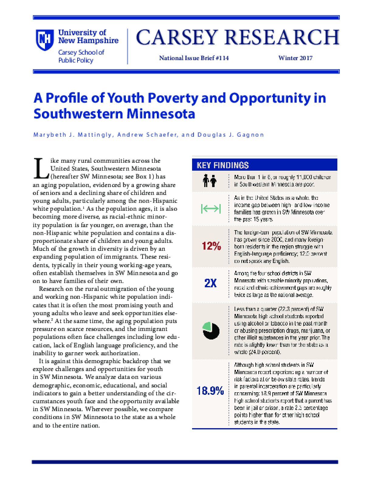 A Profile of Youth Poverty and Opportunity in Southwestern Minnesota
