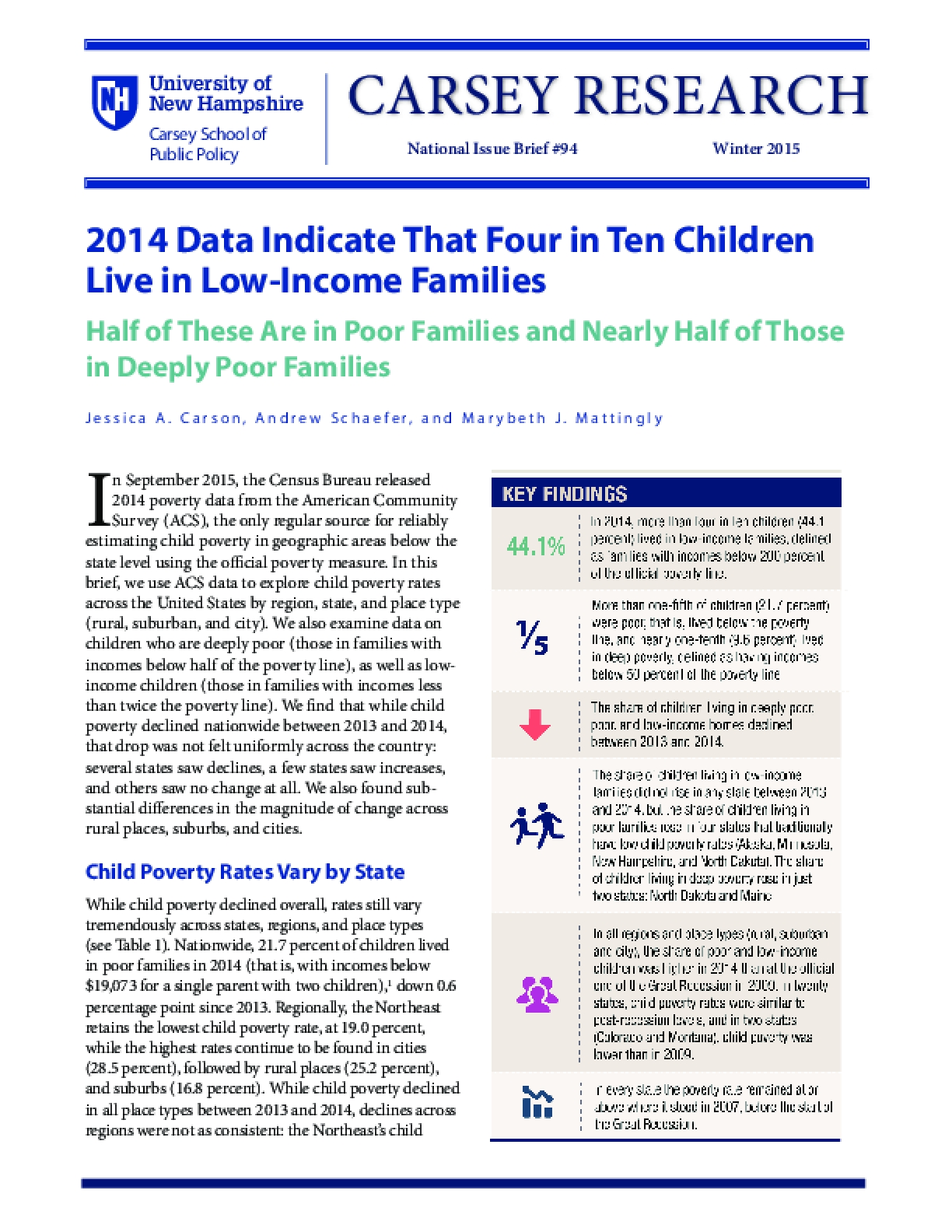 2014 Data Indicate That Four in Ten Children Live in Low-Income Families