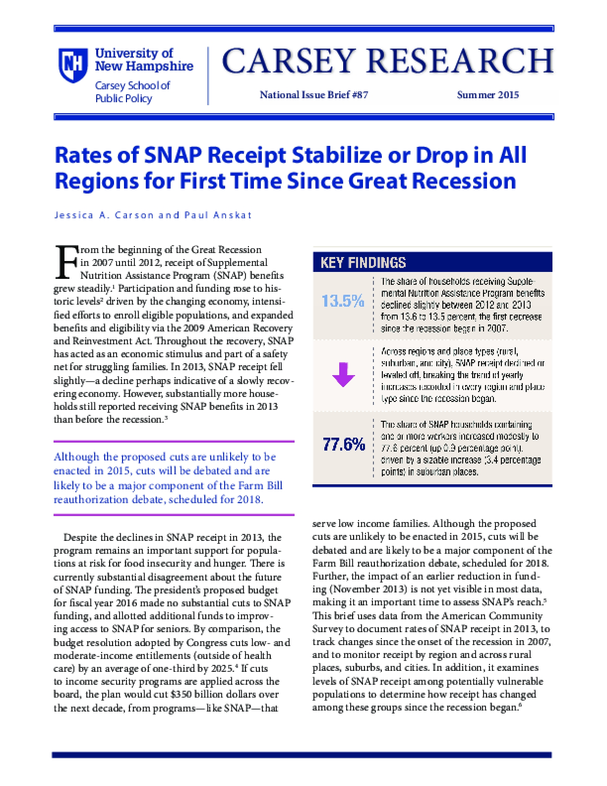 Rates of SNAP Receipt Stabilize or Drop in All Regions for First Time Since Great Recession