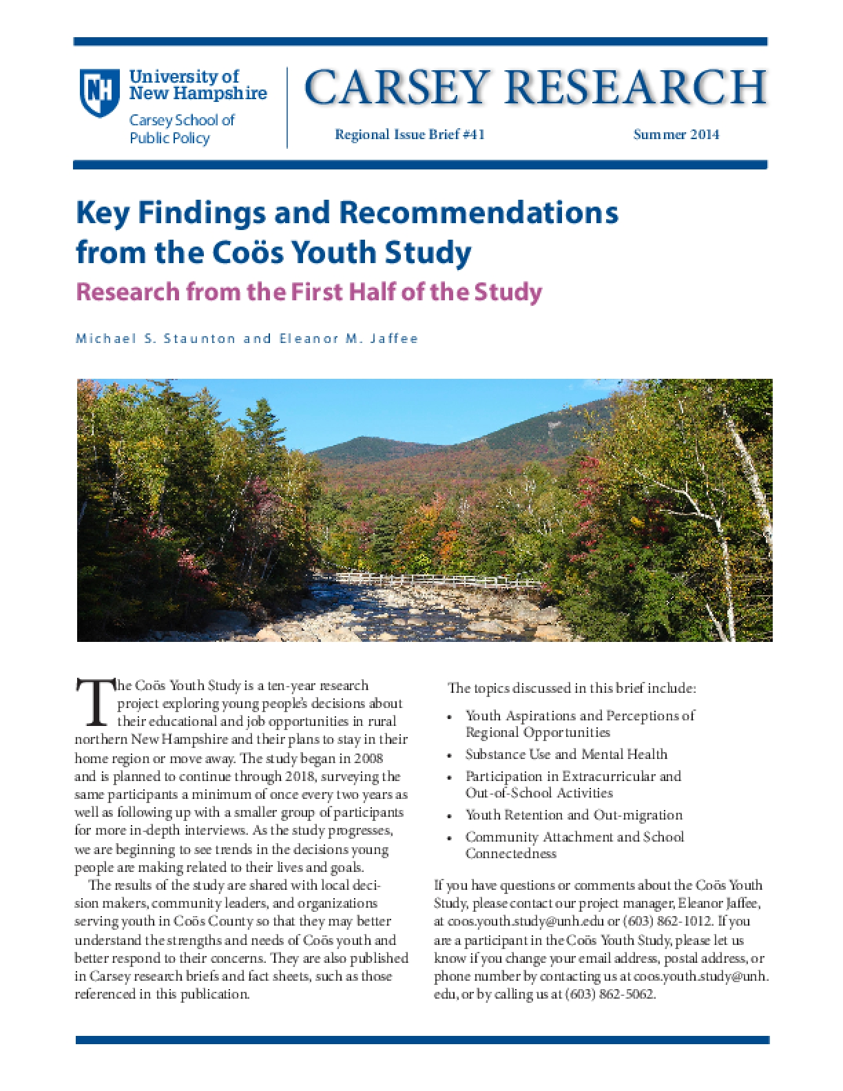 Key Findings and Recommendations from the Coös Youth Study