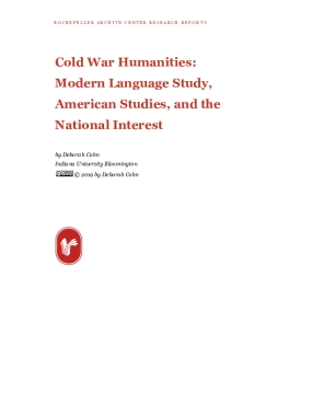 Cold War Humanities:   Modern Language Study, American Studies, and the National Interest