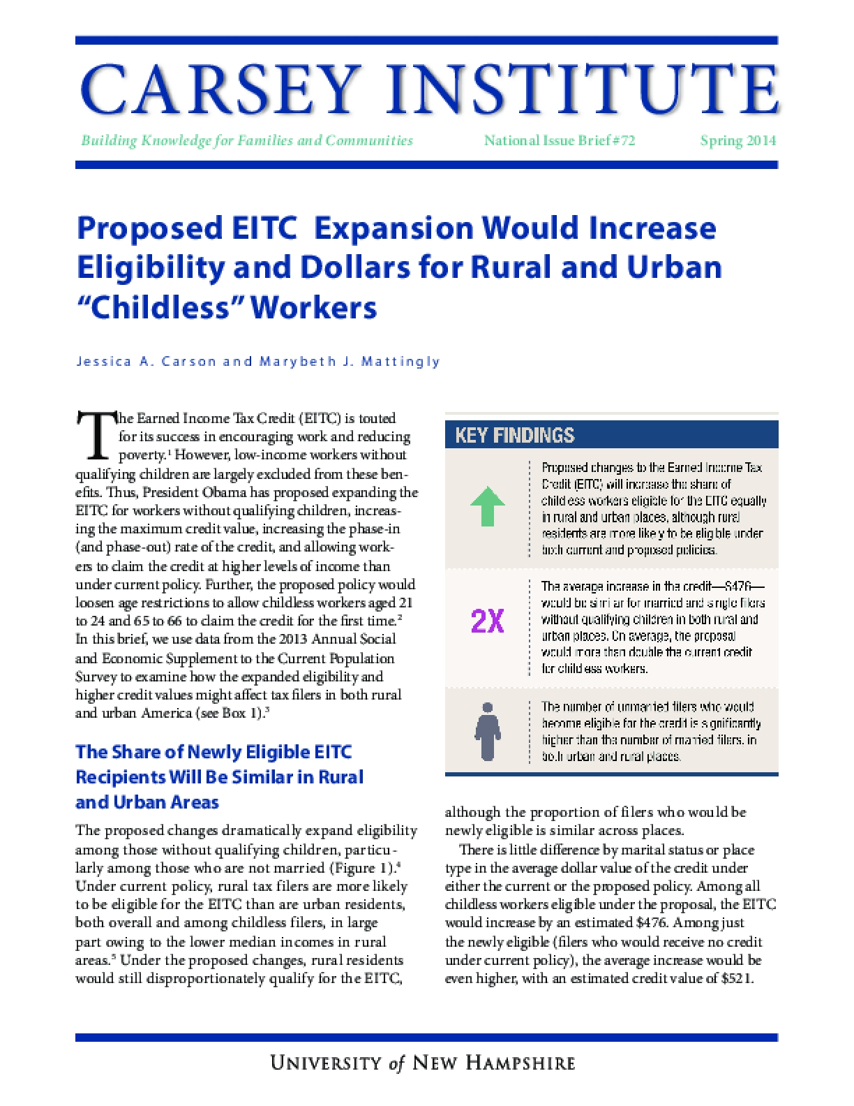 "Proposed EITC Expansion Would Increase Eligibility and Dollars for Rural and Urban ""Childless"" Workers"