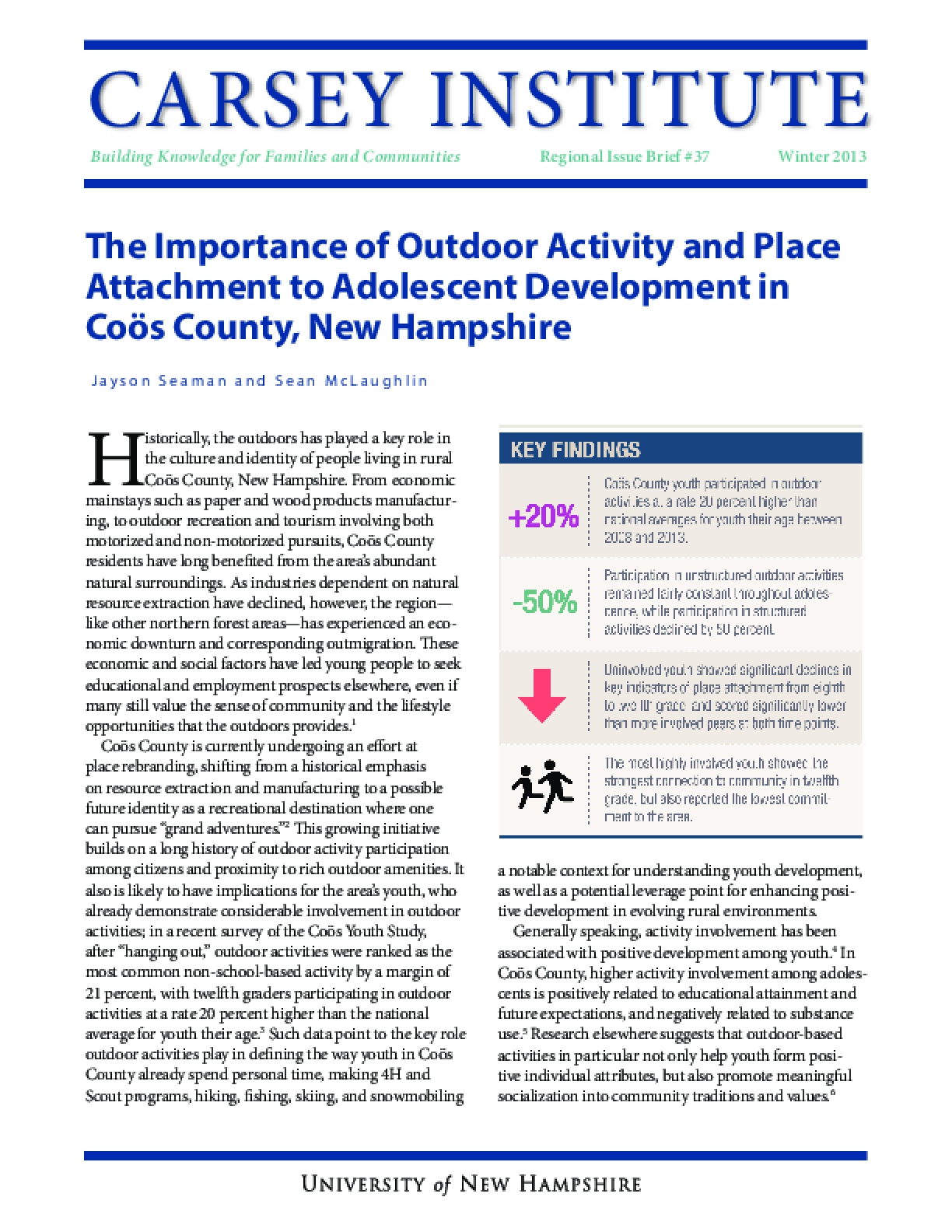 The Importance of Outdoor Activity and Place Attachment to Adolescent Development in Coös County, New Hampshire
