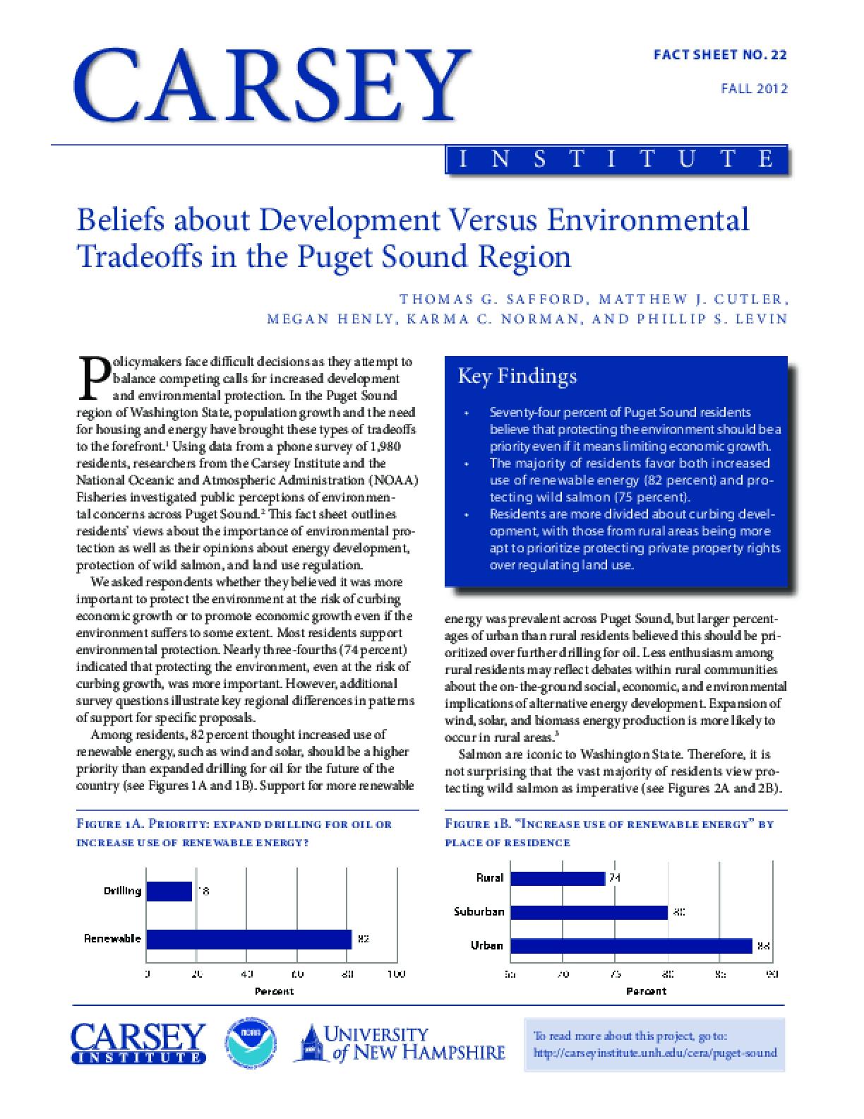 Beliefs about Development Versus Environmental Tradeoffs in the Puget Sound Region