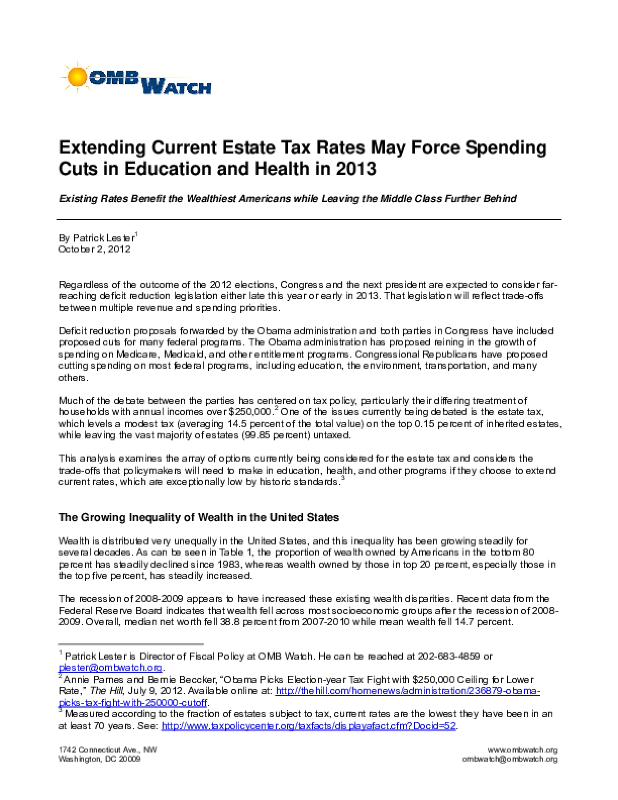 Extending Current Estate Tax Rates May Force Spending Cuts in Education and Health in 2013