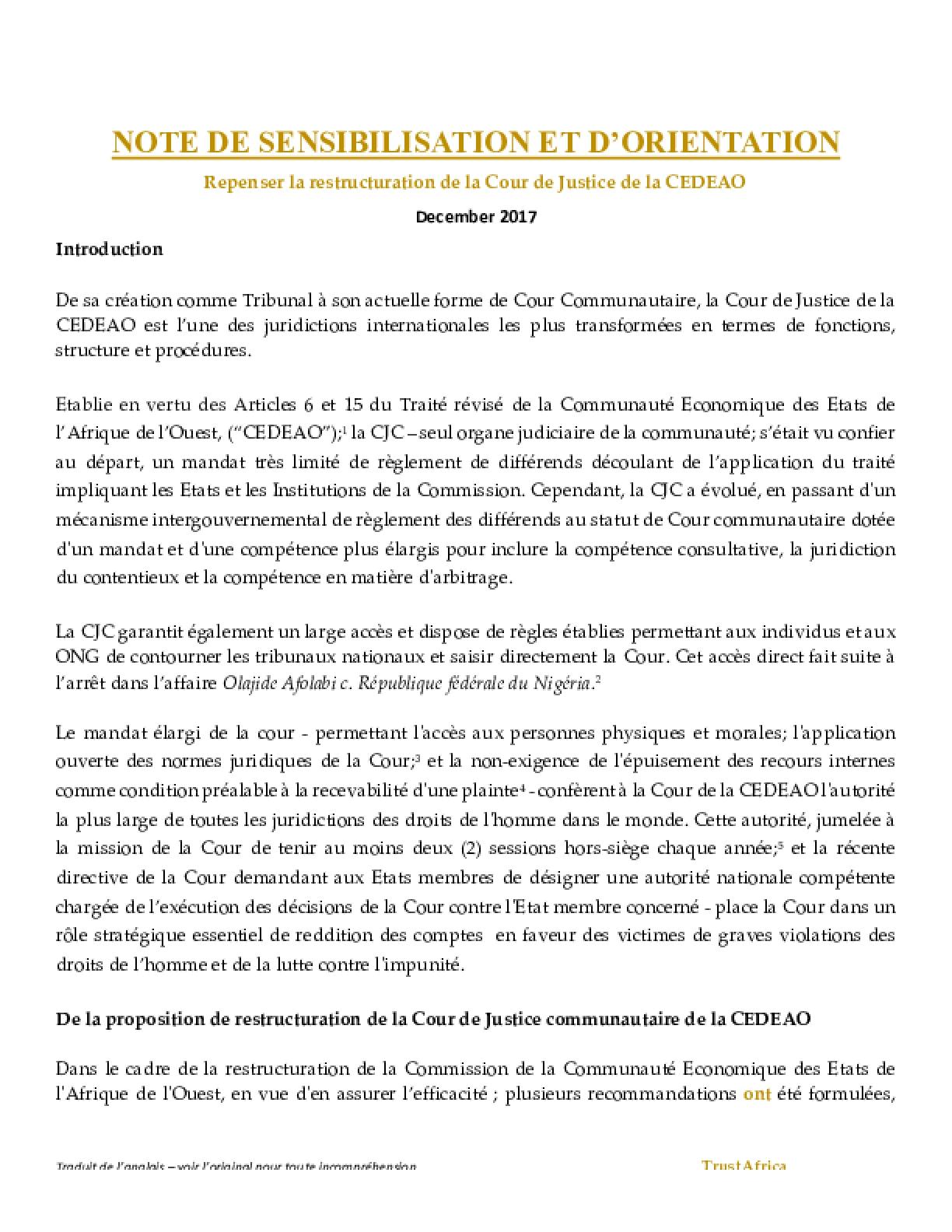 Repenser la Restructuration de la Cour de Justice de la CEDEAO