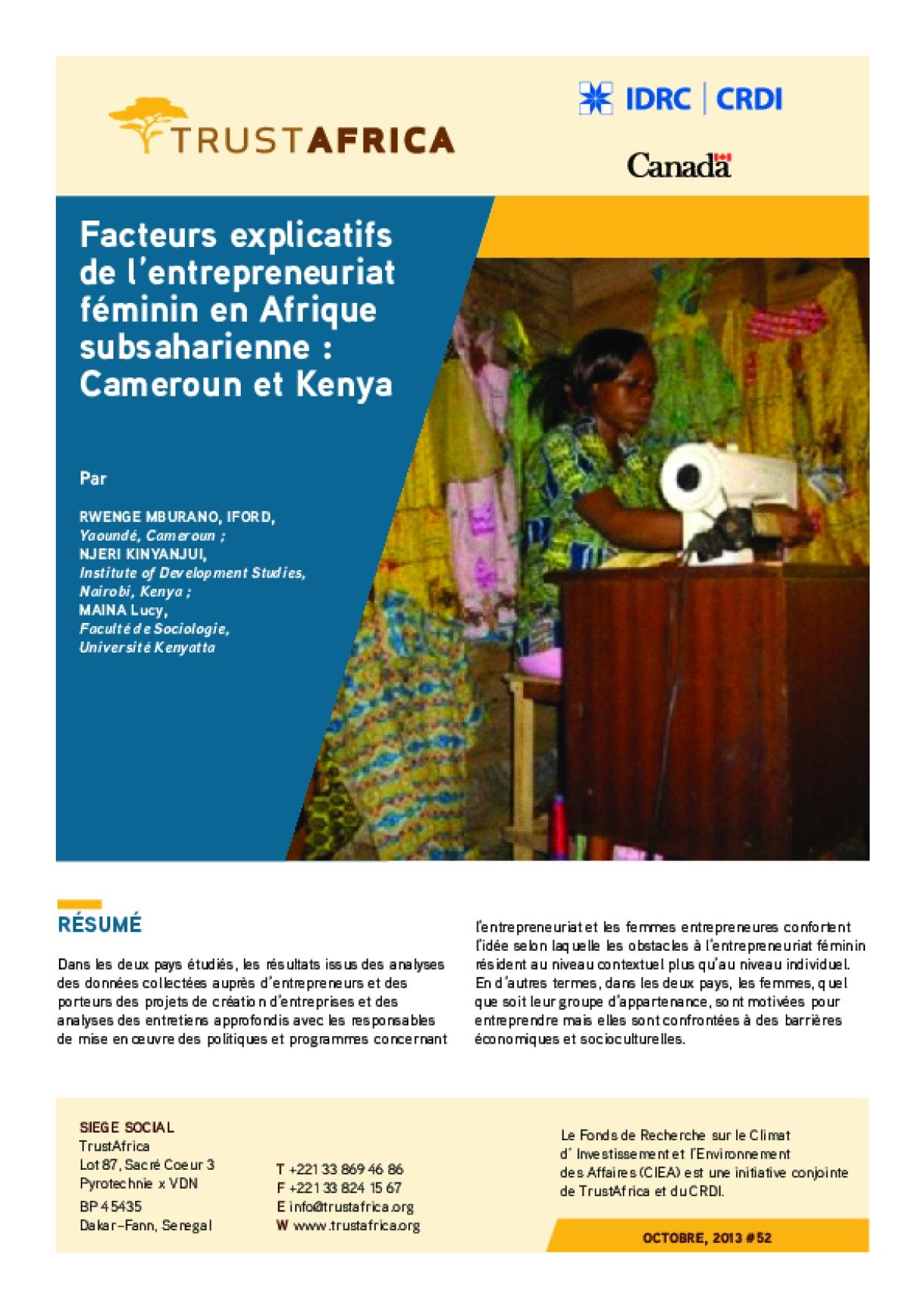 Facteurs Explicatifs De L'entrepreneuriat Féminin En Afrique Subsaharienne : Cameroun Et Kenya