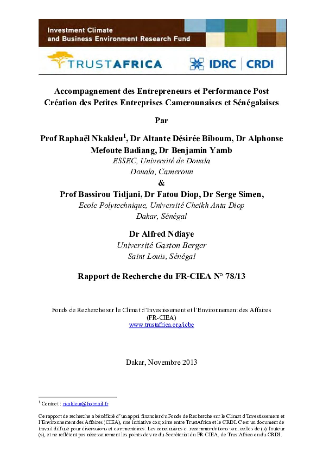 Accompagnement des Entrepreneurs et Performance Post Création des Petites Entreprises Camerounaises et Sénégalaises
