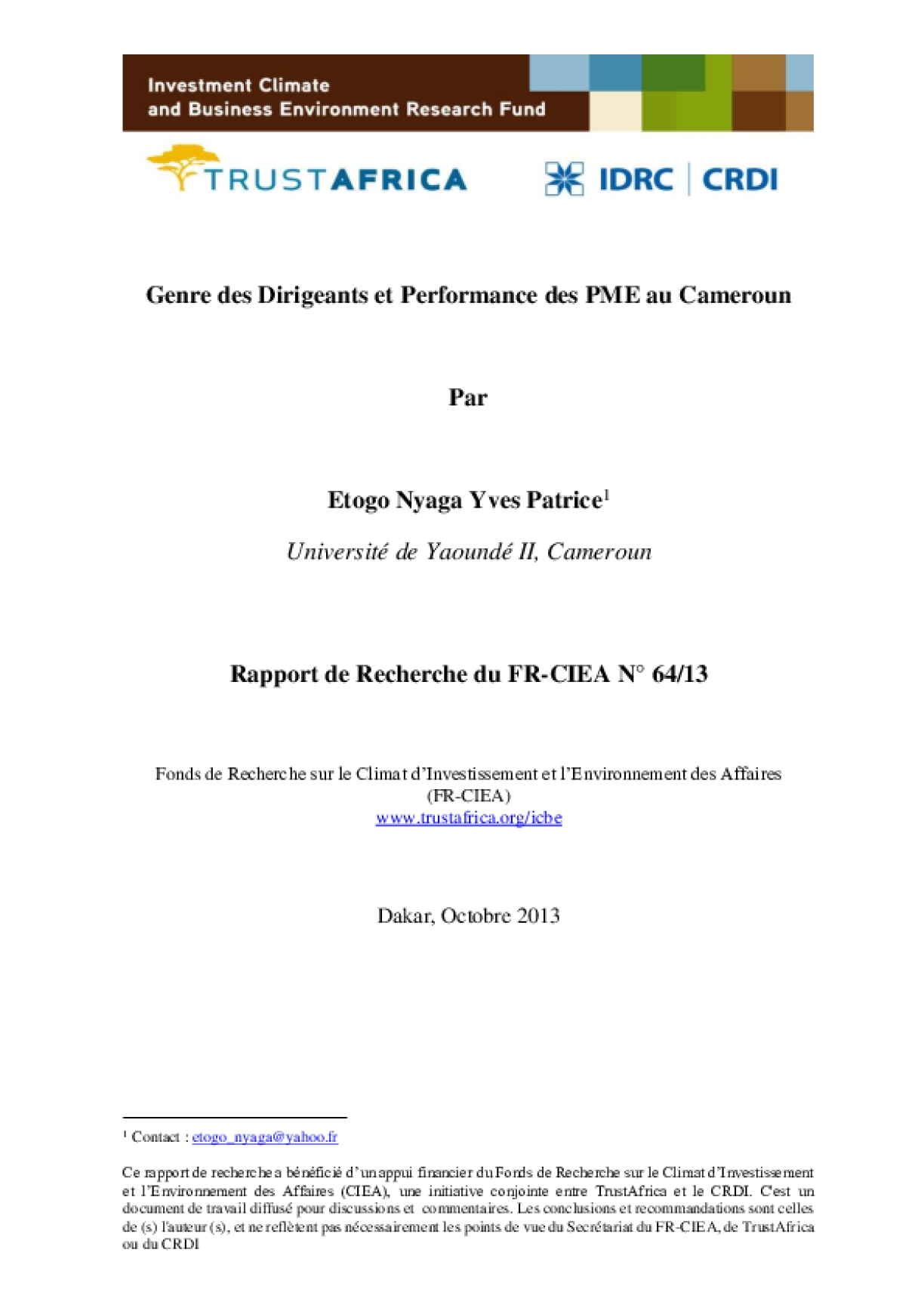 Genre des Dirigeants et Performance des PME au Cameroun