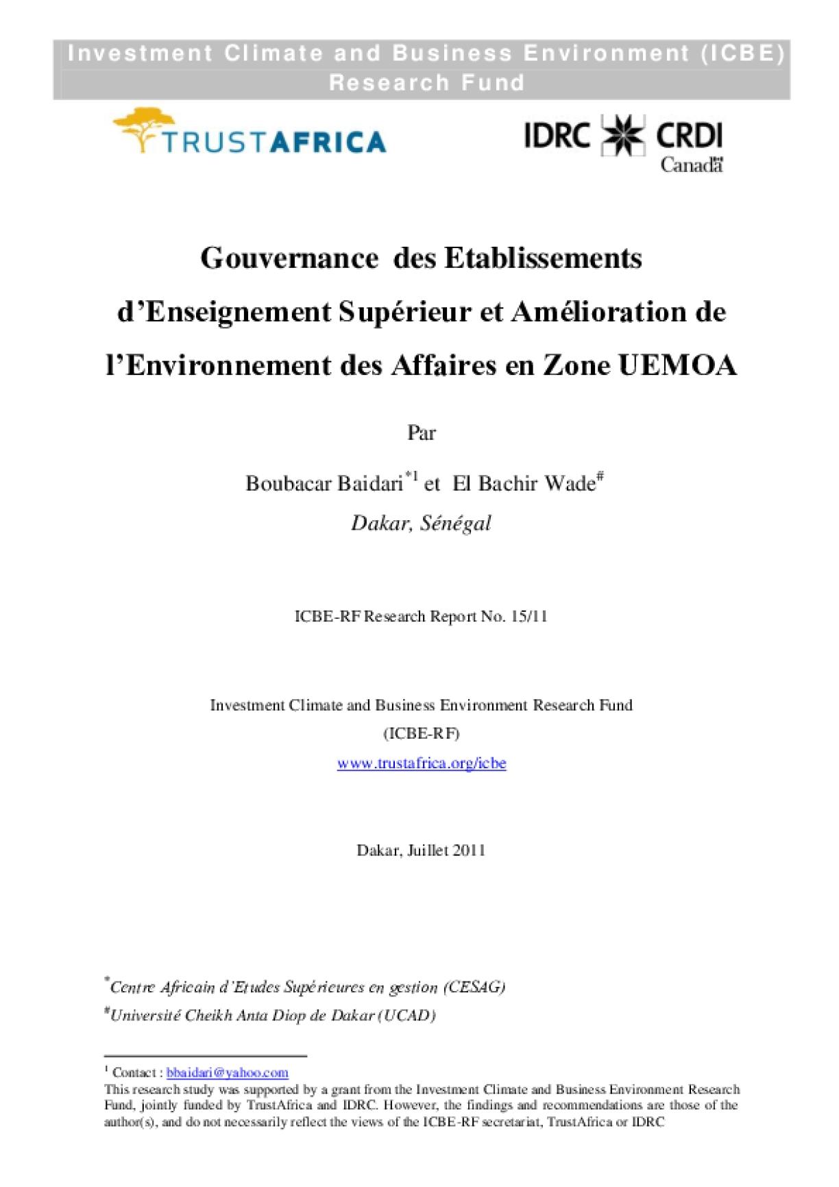 Gouvernance des Etablissements d'Enseignement Supérieur et Amélioration de l'Environnement des Affaires en Zone UEMOA