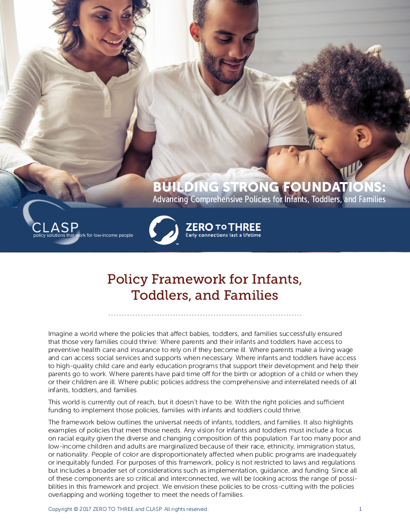 Building Strong Foundations Framework: Advancing Comprehensive Policies for Infants, Toddlers, and Families