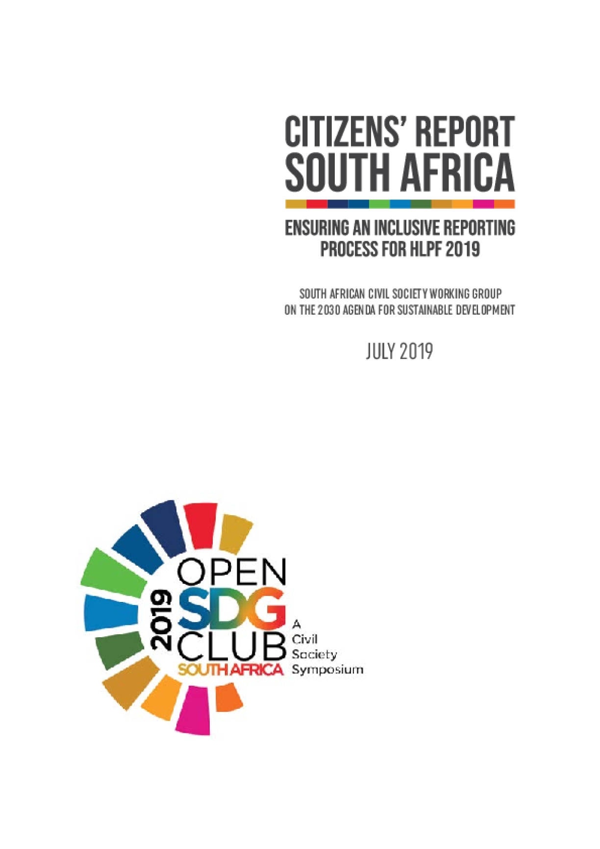 Citizens' Report  South Africa: Ensuring an Inclusive Reporting Process for HLPF 2019