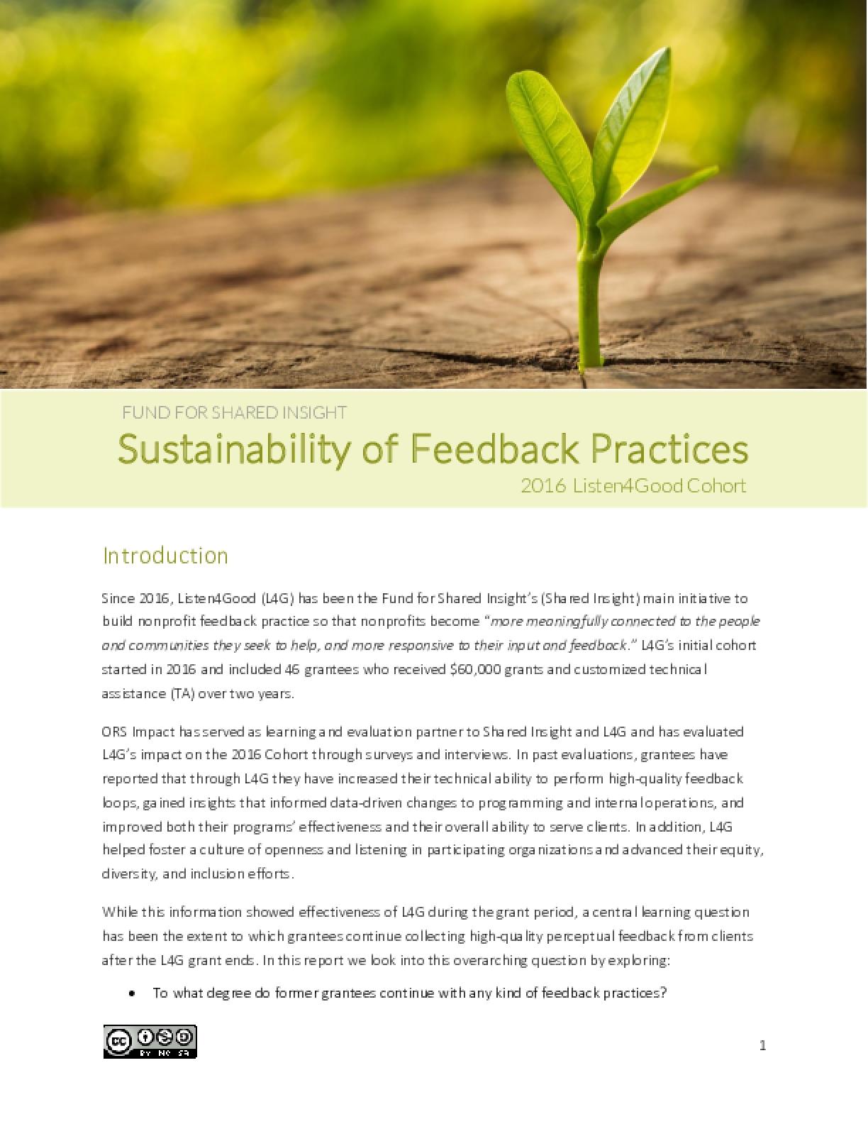 Sustainability of Feedback Practice: 2016 Listen4Good Cohort