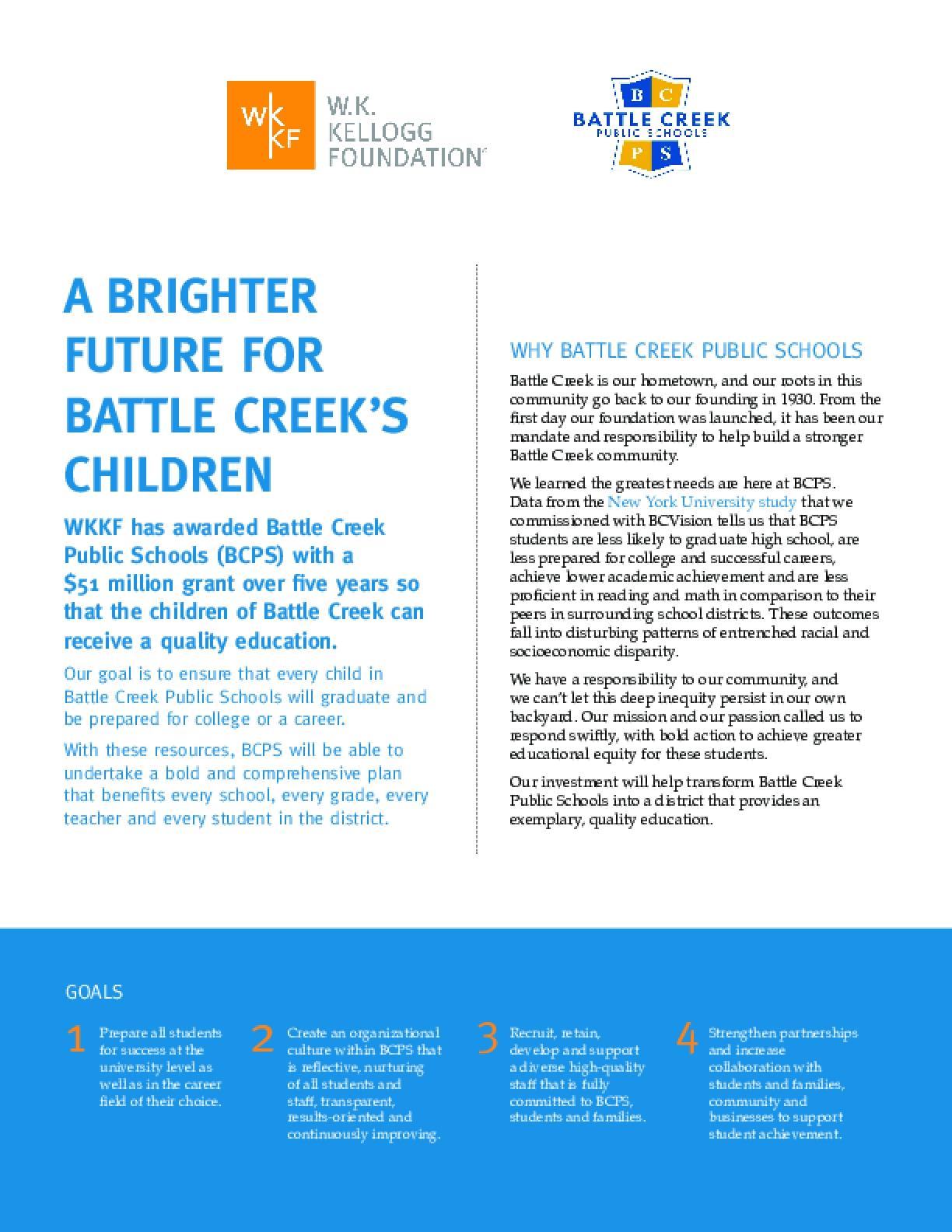 A Brighter Future for Battle Creek's Children: Fact Sheet