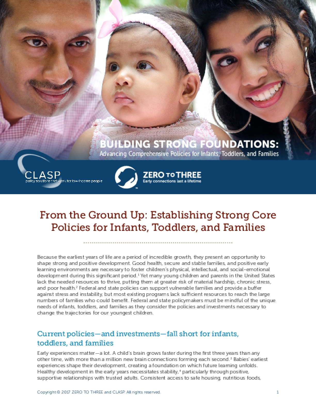 From the Ground Up: Establishing Strong Core Policies for Infants, Toddlers, and Families