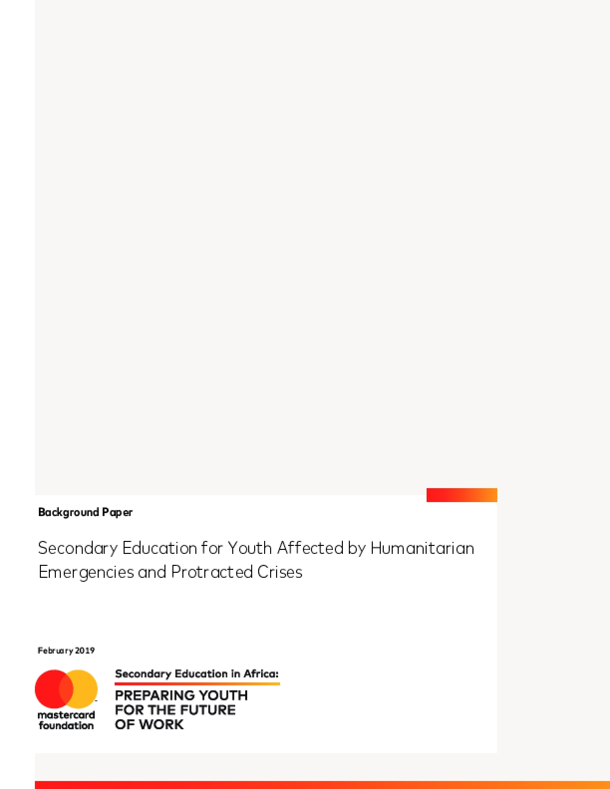Secondary Education for Youth Affected by Humanitarian Emergencies and Protracted Crises