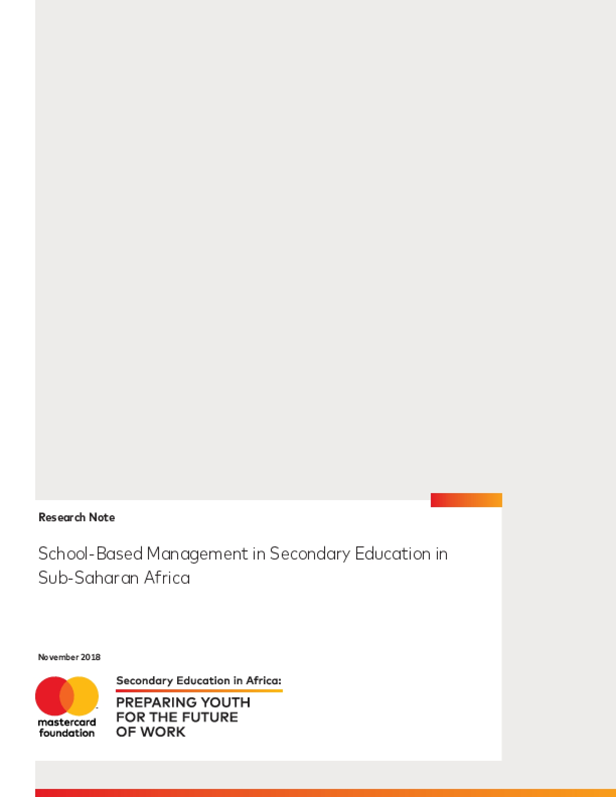 School-Based Management in Secondary Education in Sub-Saharan Africa