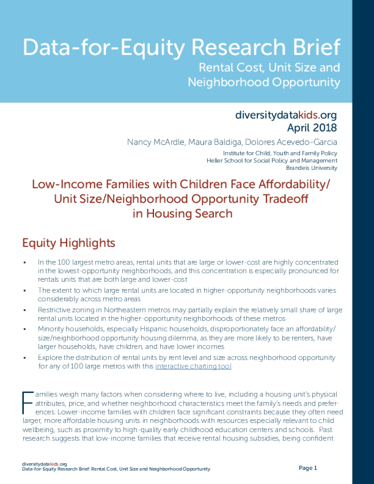Data-for-Equity Research Brief: Rental Cost, Unit Size and Neighborhood Opportunity