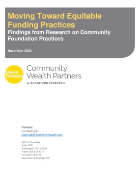 Moving Toward Equitable Funding Practices: Findings from Research on Community Foundation Practices