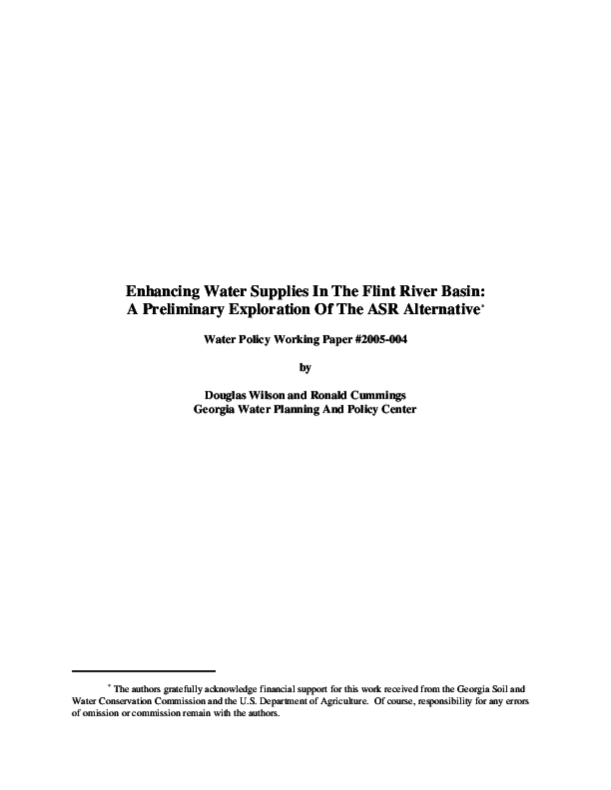 Enhancing Water Supplies In The Flint River Basin: A Preliminary Exploration Of The ASR Alternative