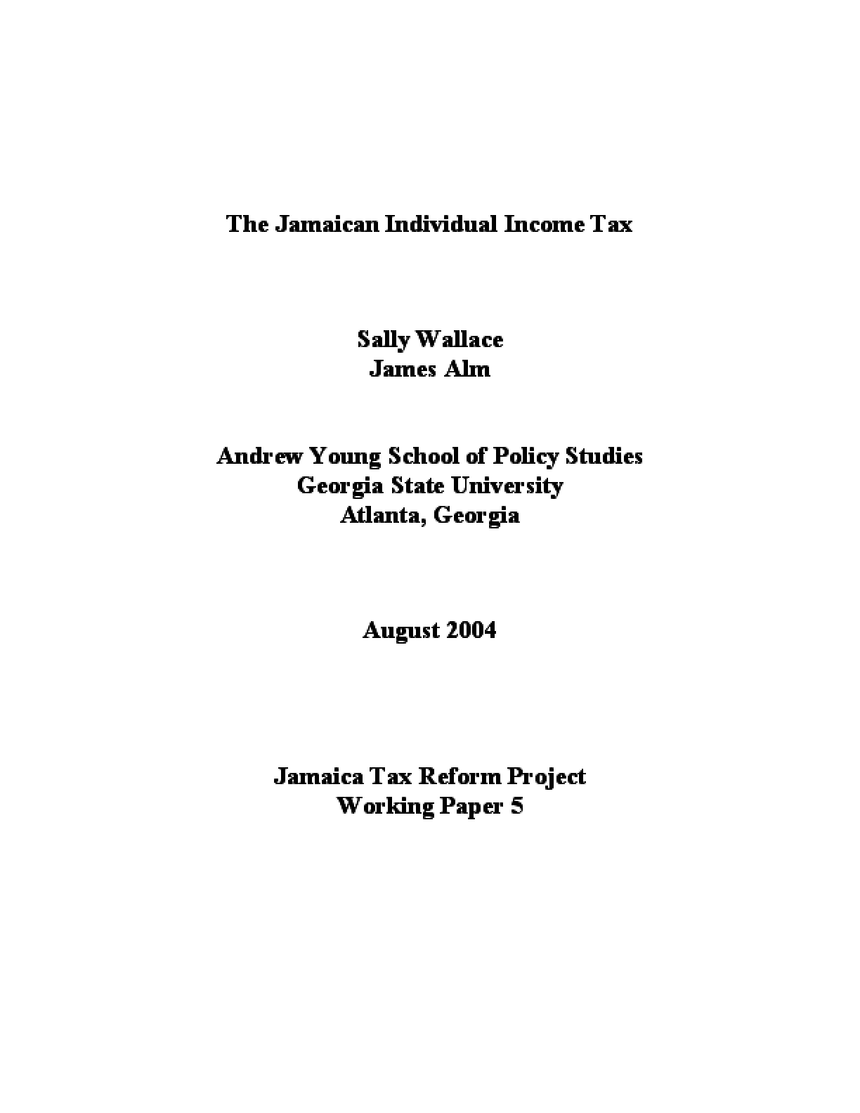 The Individual Income Tax in Jamaica