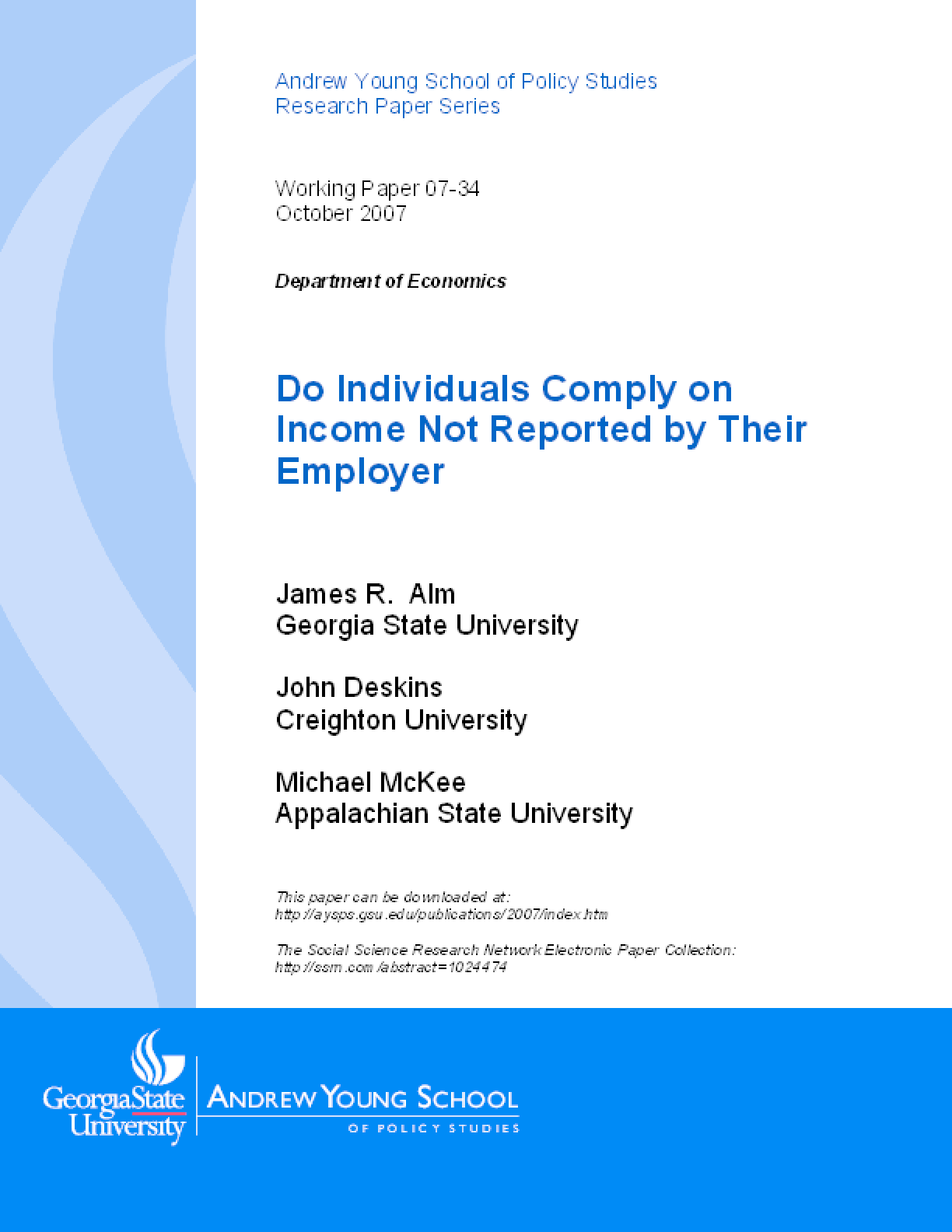 Do Individuals Comply on Income Not Reported by Their Employer