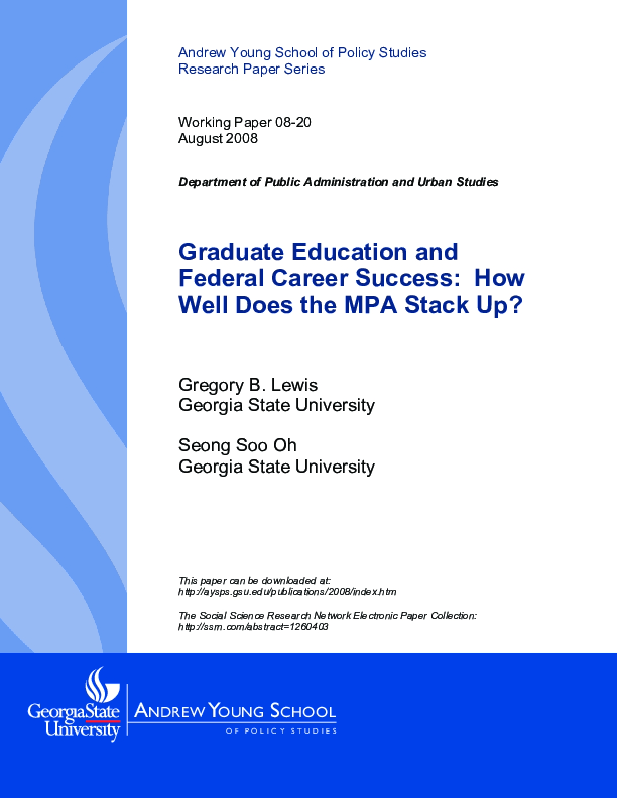 Graduate Education and Federal Career Success: How Well Does the MPA Stack Up?