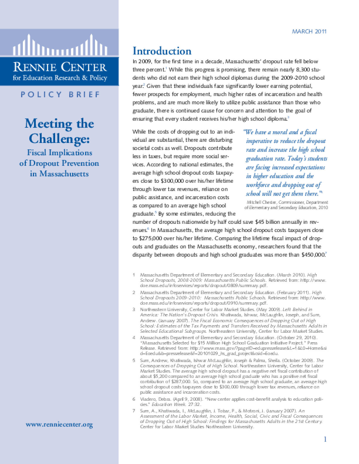 Meeting the Challenge: Fiscal Implications of Dropout Prevention in Massachusetts