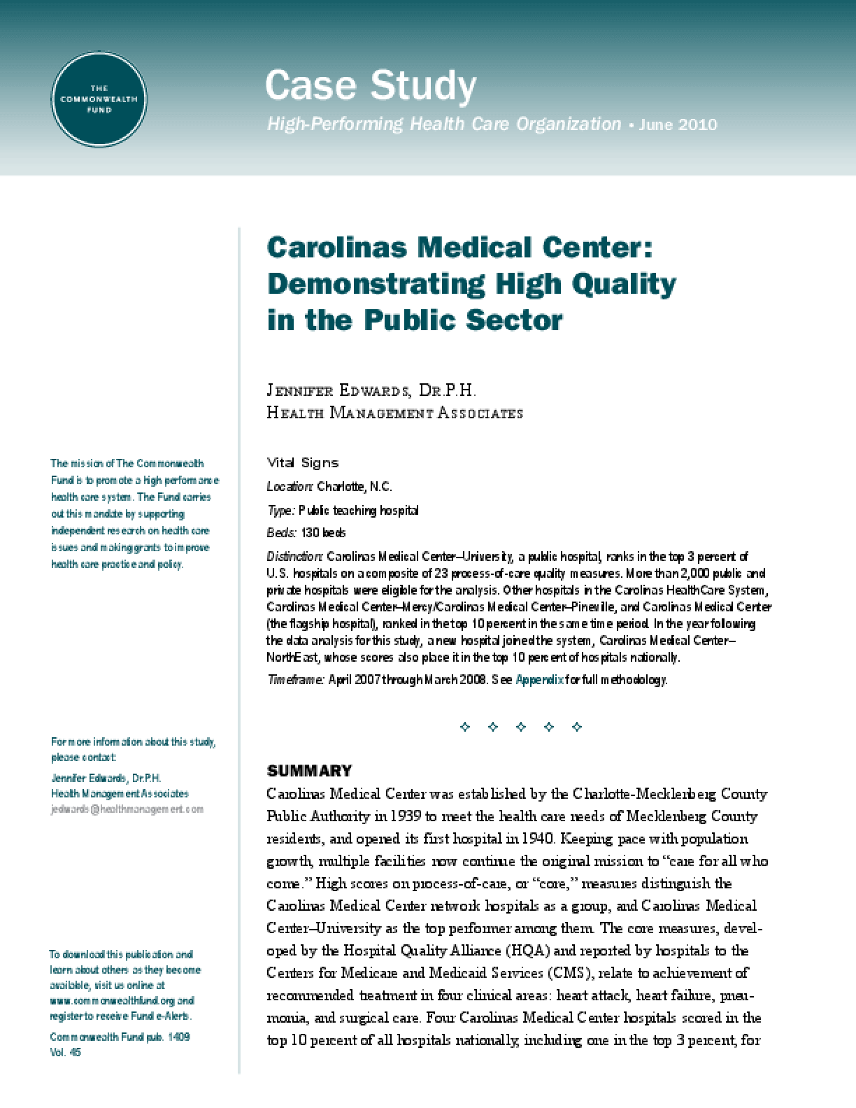 Carolinas Medical Center: Demonstrating High Quality in the Public Sector