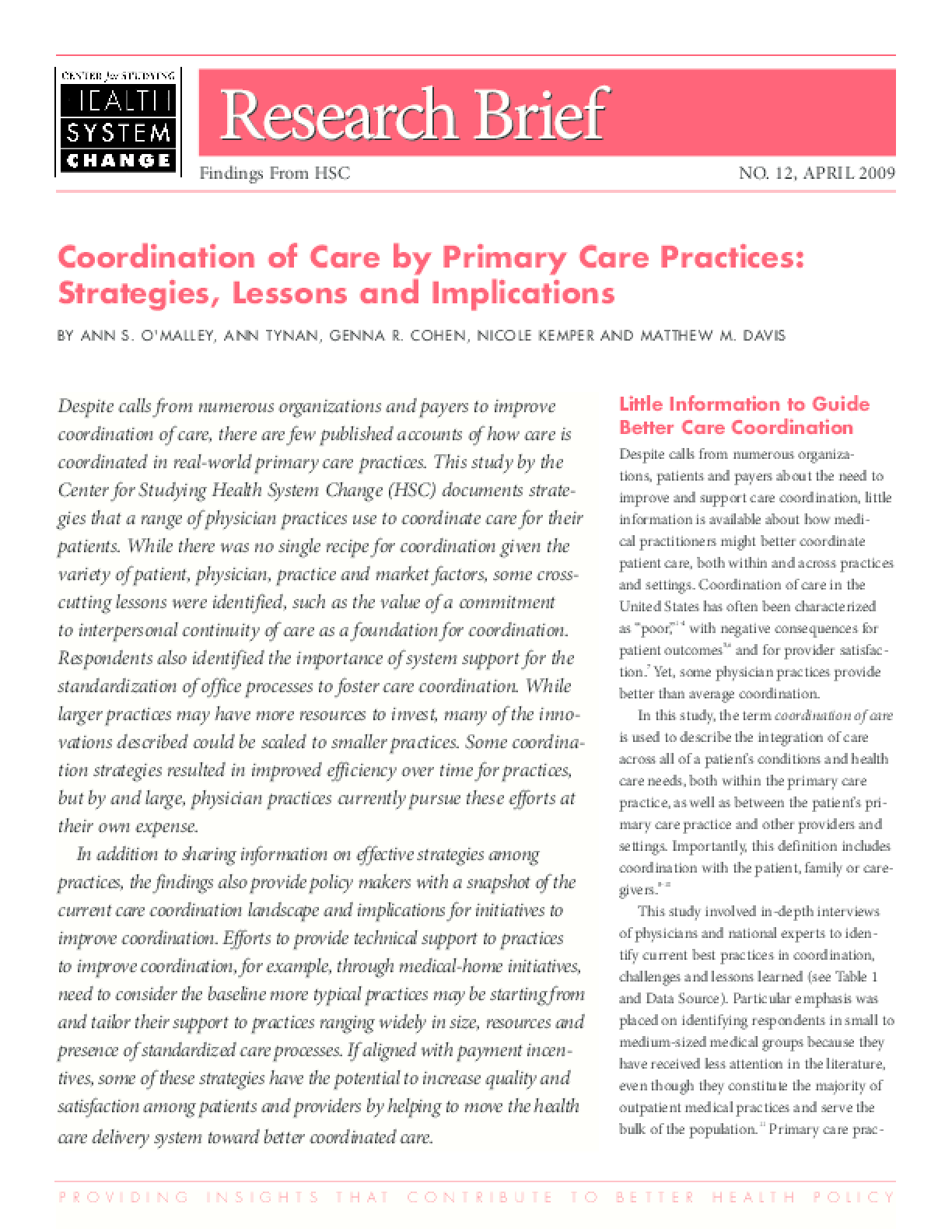 Coordination of Care by Primary Care Practices: Strategies, Lessons and Implications