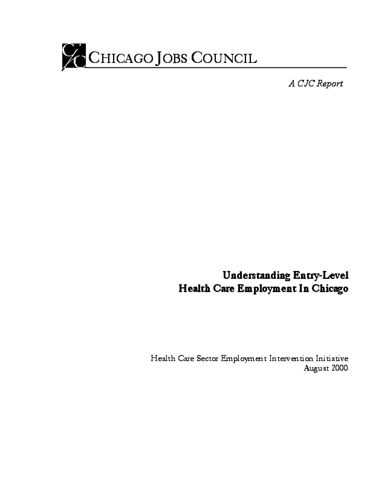 Understanding Entry-Level Health Care Employment in Chicago