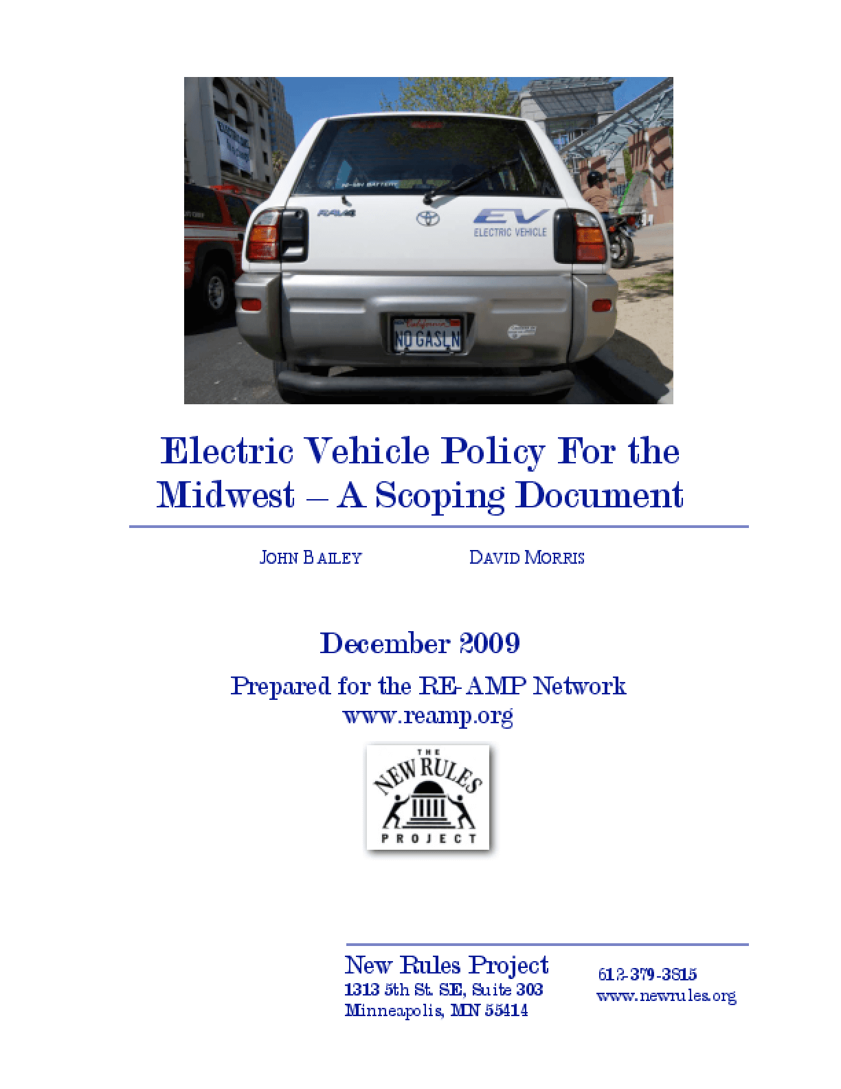Electric Vehicle Policy for the Midwest: A Scoping Report