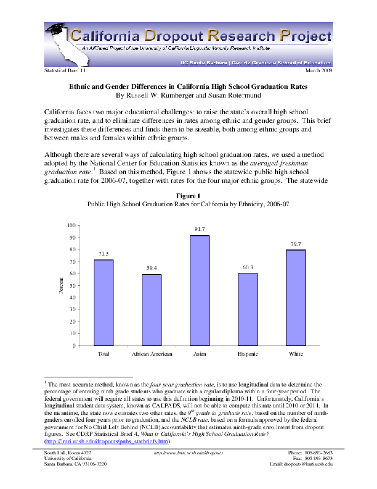 Ethnic and Gender Differences in California High School Graduation Rates