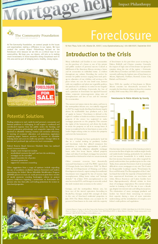 Foreclosure Crisis in Metro Atlanta