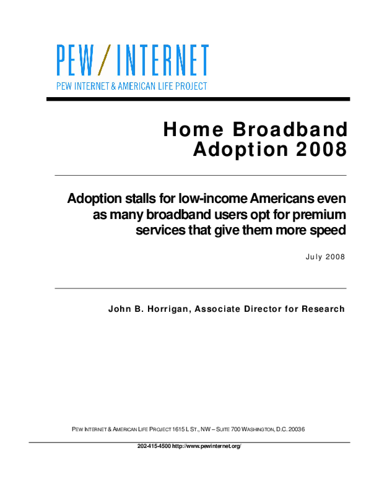 Home Broadband Adoption 2008